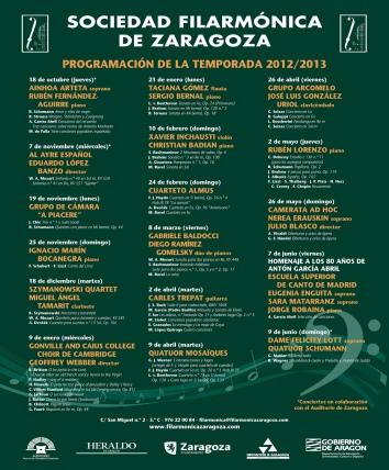Cartel Sociedad Filarmonica. Temporada 2012-13